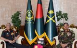 Gen MM Naravane with his Bangladesh counterpart General Aziz Ahmed.